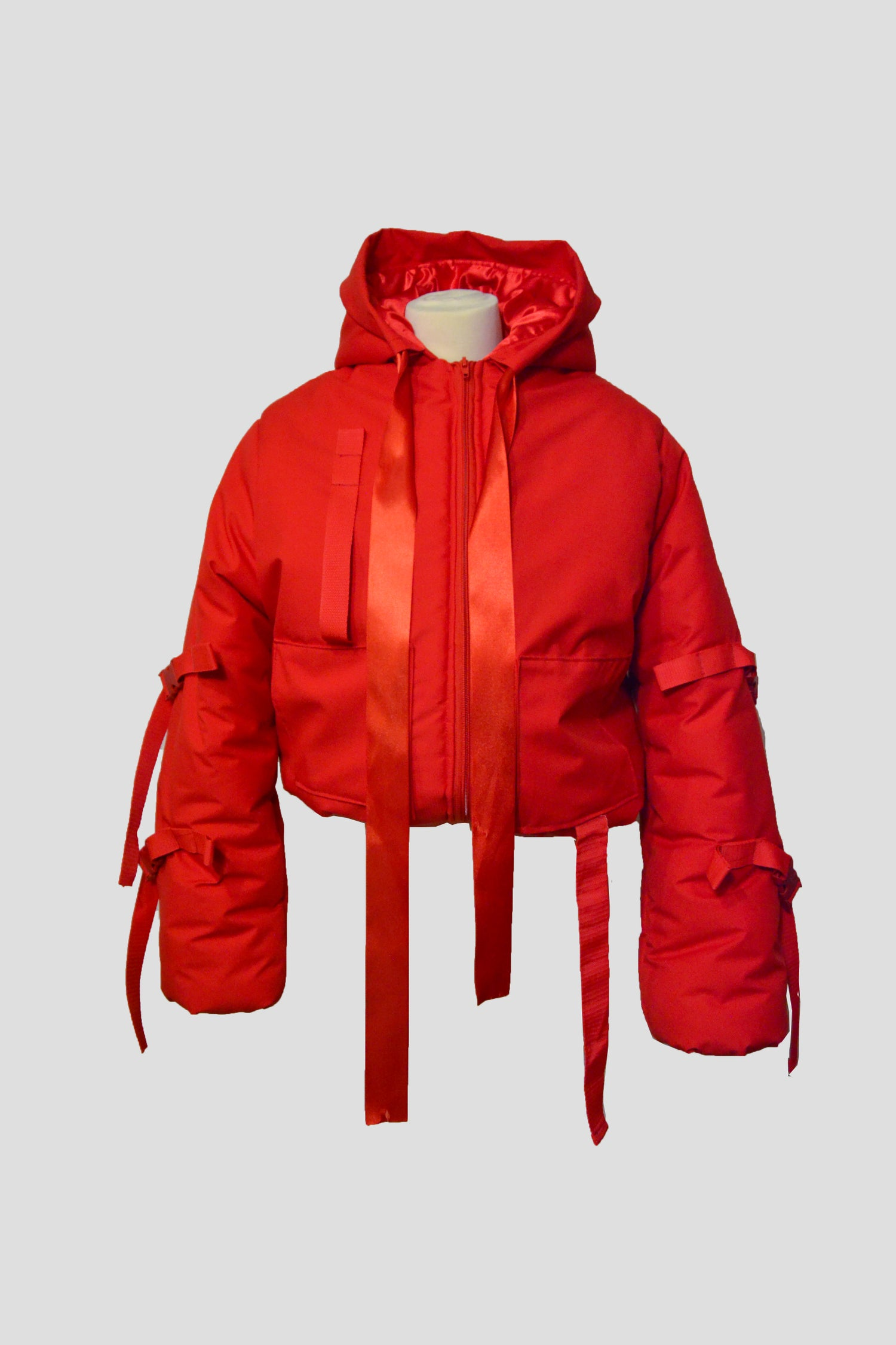 Image of red croppped puffy jacket