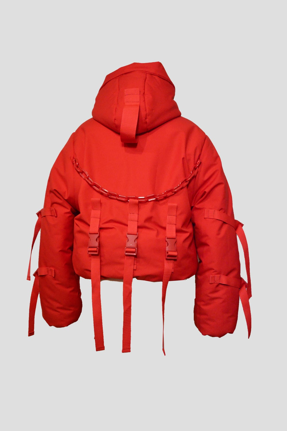 Image of Red puffy jacket