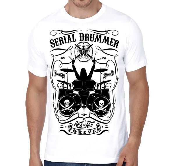 Image of DRUM ADDICT - WHITE T-SHIRT