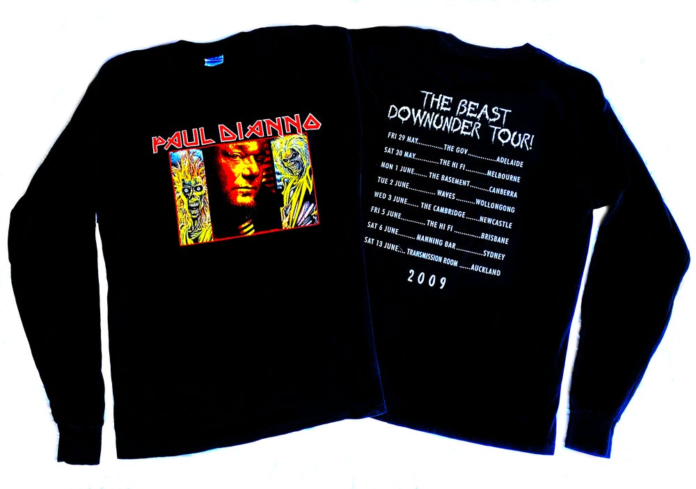 Image of LONGSLEEVE T'SHIRT - Paul Dianno 'The Beast Downunder' Australian Tour 2009 - 'Eddie' design