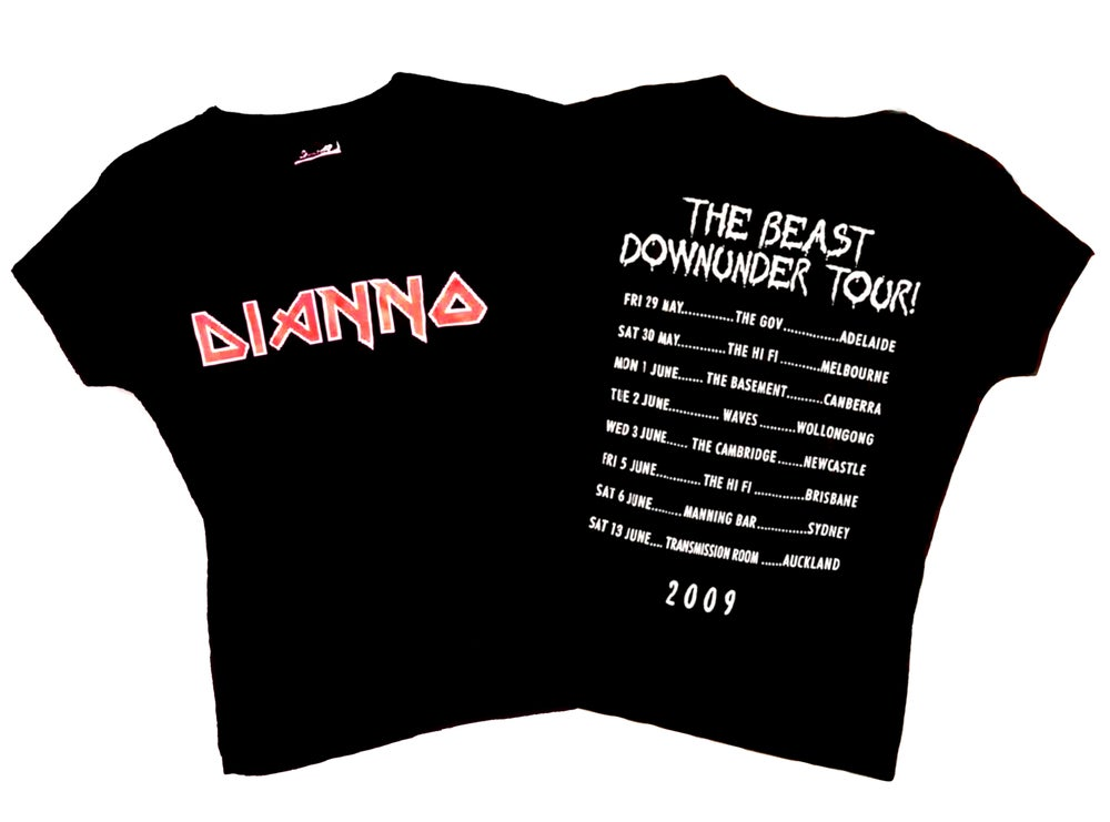 Image of LADIES T'SHIRT - Paul Dianno 'The Beast Downunder' Australian Tour 2009 - Logo design