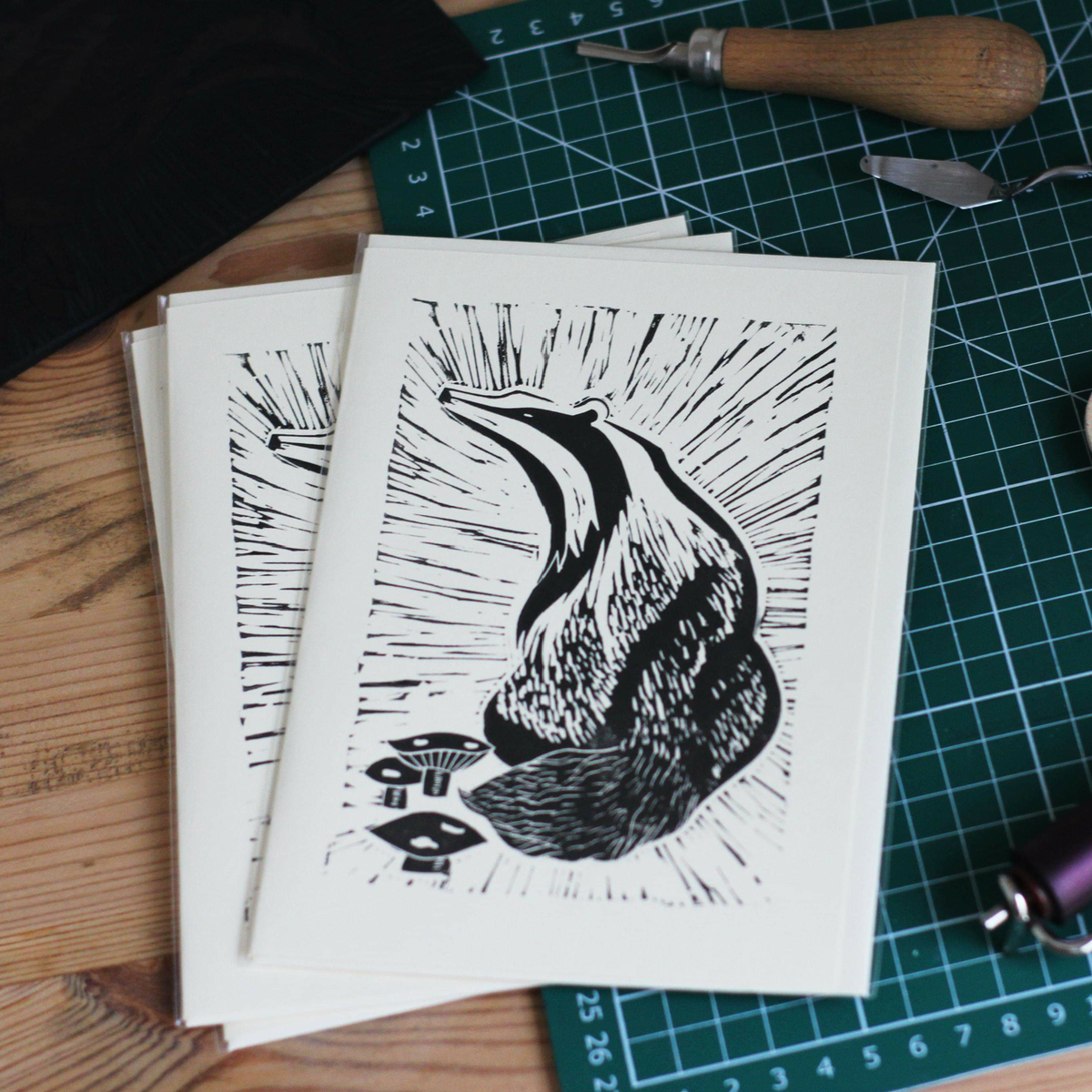 Image of Badger with toadstools 5x7 inch card