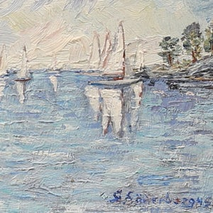 Image of 1945 Painting, 'Boats at Smögen,' GUNNAR SÖDERBERG (1893- 1975)