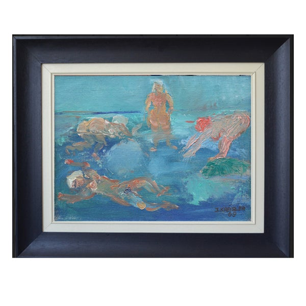 Image of 1969 Painting, 'Wild Swimming', INGEBORG NILSSON