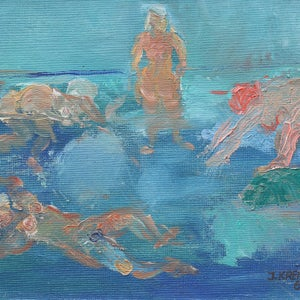 Image of 1969 Painting, 'Wild Swimming', INGEBORG NILSSON