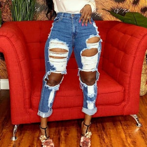 """Image of """"Cut Up"""" Distressed Denim Jeans"""