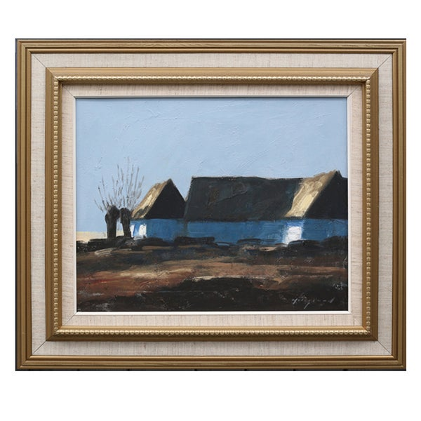 Image of Mid Century Swedish Painting, 'Farm at Dusk.' BENGT HILLGRUND.