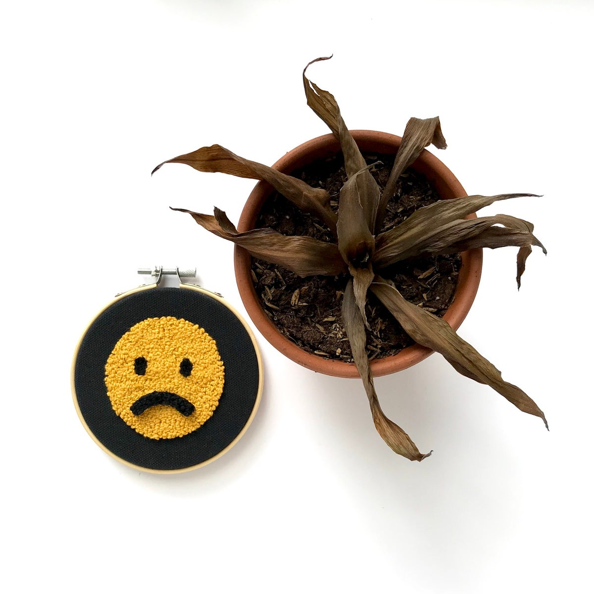 """""""So Moody"""" Moveable Embroidered Smiley Face Hoop"""