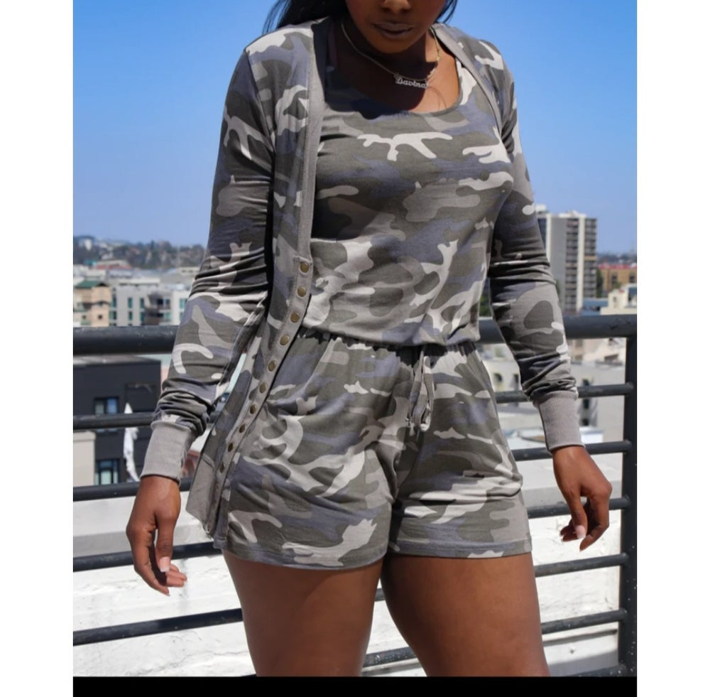 Image of Camo Snap Button Cardigan