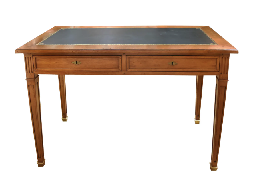 Image of Louis XVI Style Green Leather Top Writing Desk