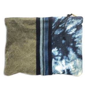 Image of BLEACHED DENIM & ARMY TENT POUCH