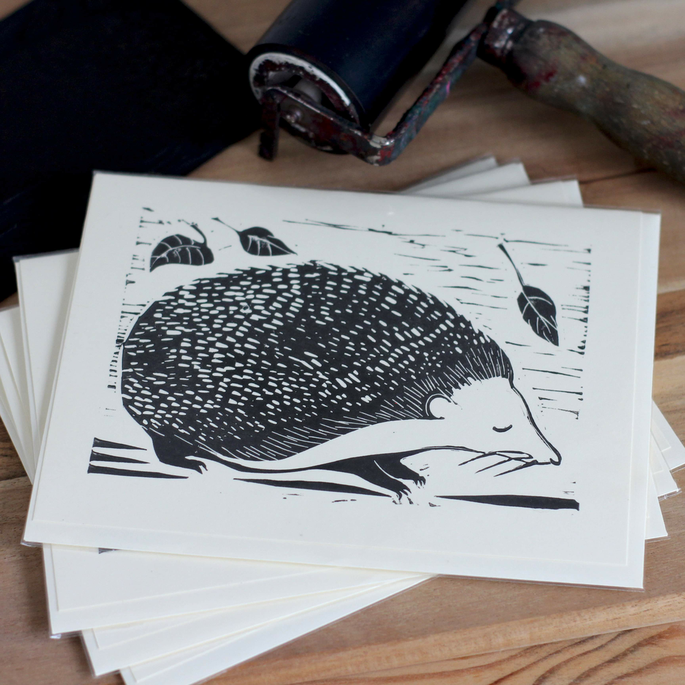 Image of Hedgehog with autumn leaves 5x7 inch card