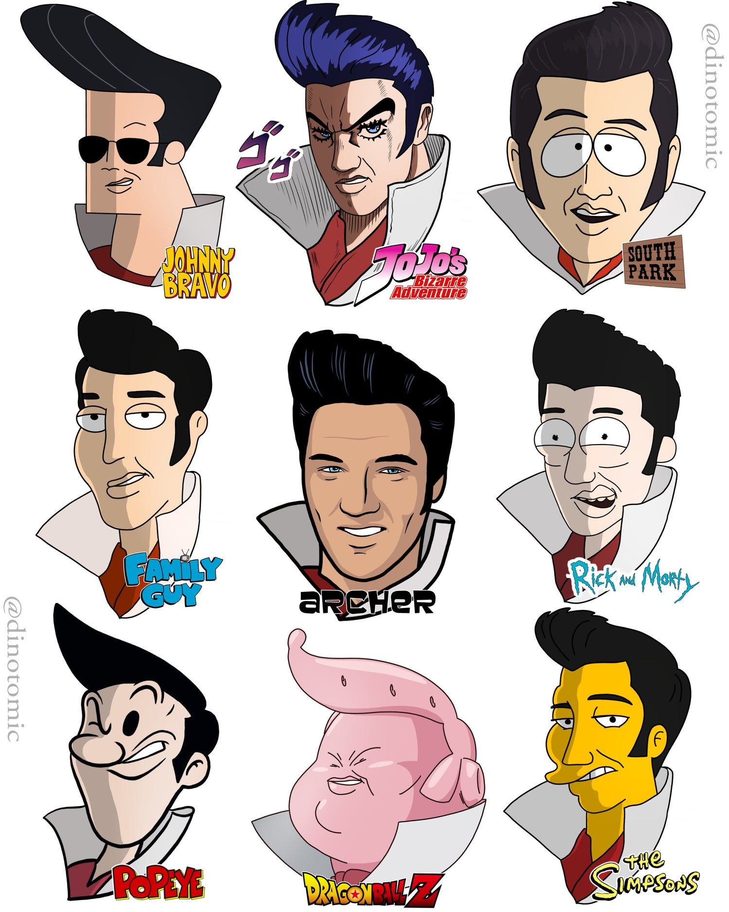 Image of #213 Elvis in many styles