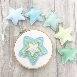 Image of Blue & Green Star Hoop Art