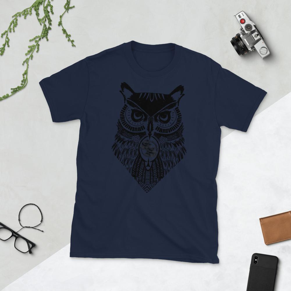 Shallow Side Black Owl Unisexy T-Shirt