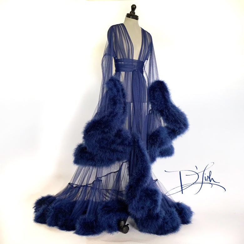 """Image of Navy Blue """"Cassandra"""" Deluxe Dressing Gown"""
