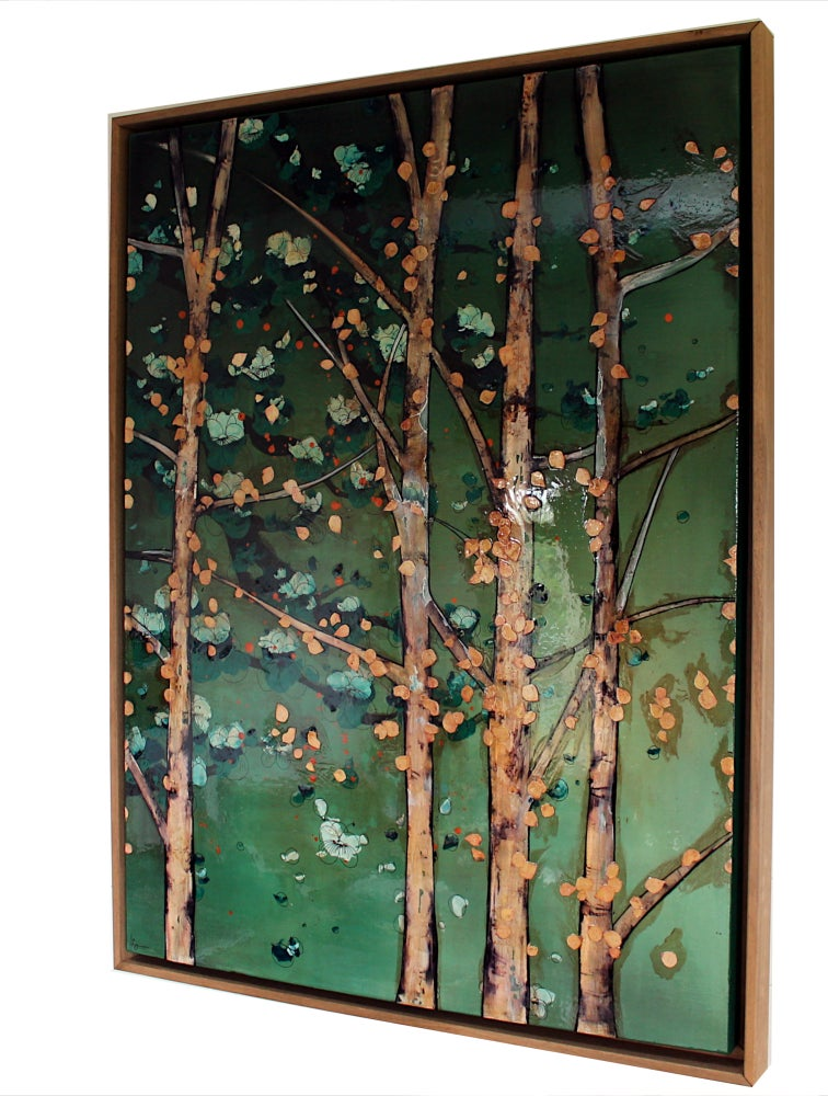 "Image of Original Canvas - Birch and Blossoms on Jade - 30"" x 40"""
