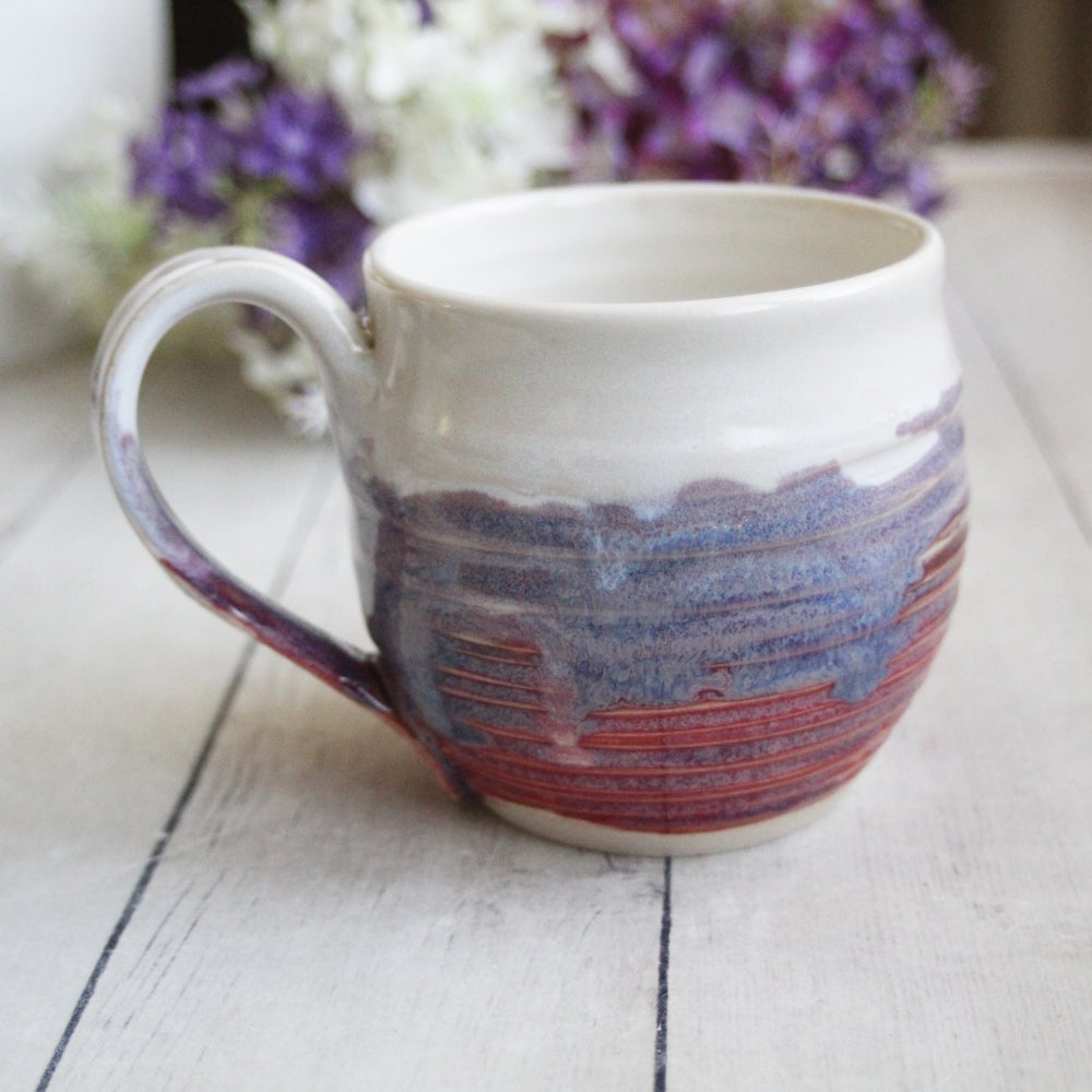 Image of Pink and Purple and White Handmade Mug, Stoneware Pottery Coffee Cup, Made in USA