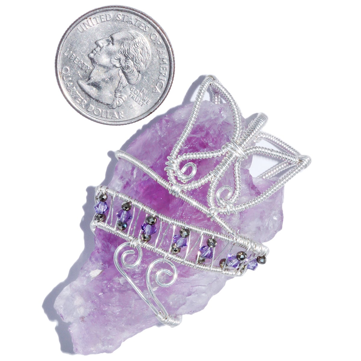 Etched Lavender Amethyst Crystal Woven Wire Wrap Pendant