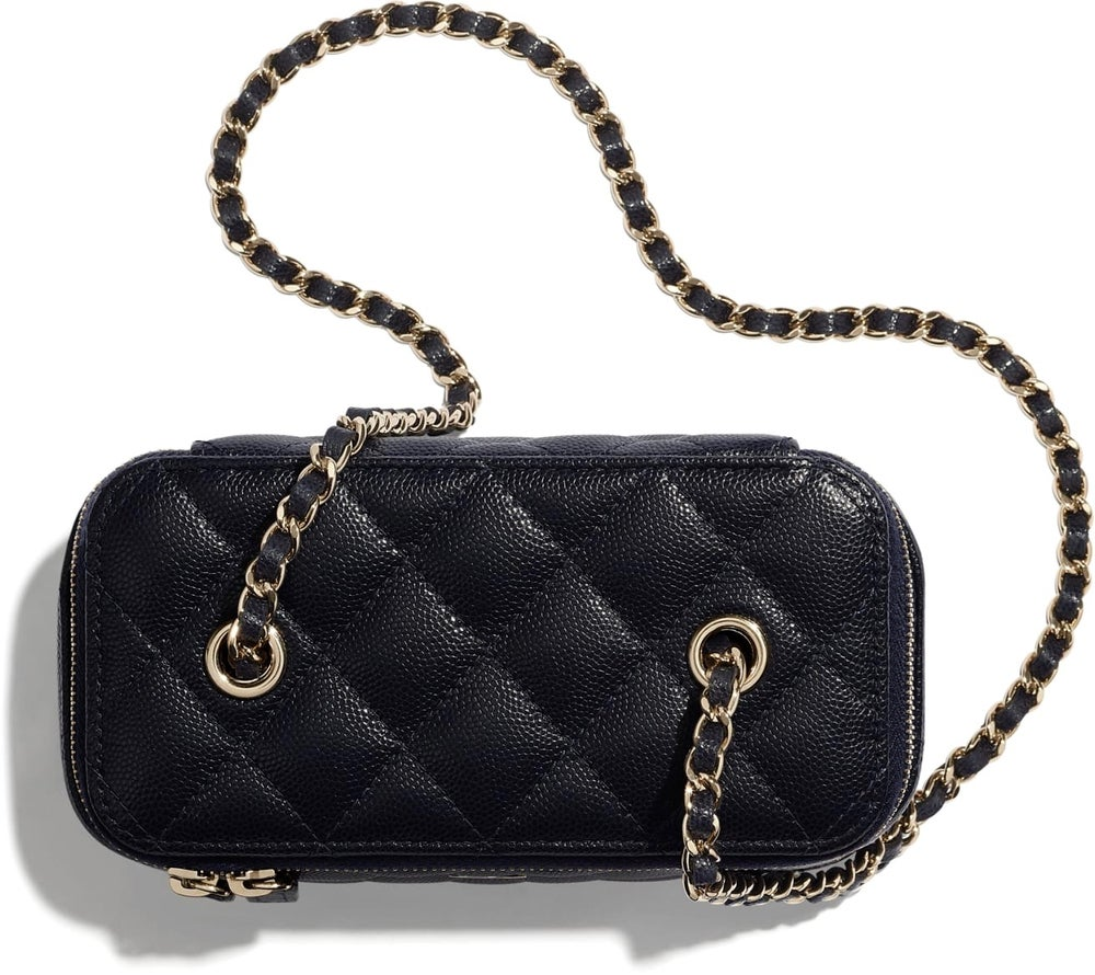 Image of Chanel Small Vanity with Classic Chain Black Calfskin Leather