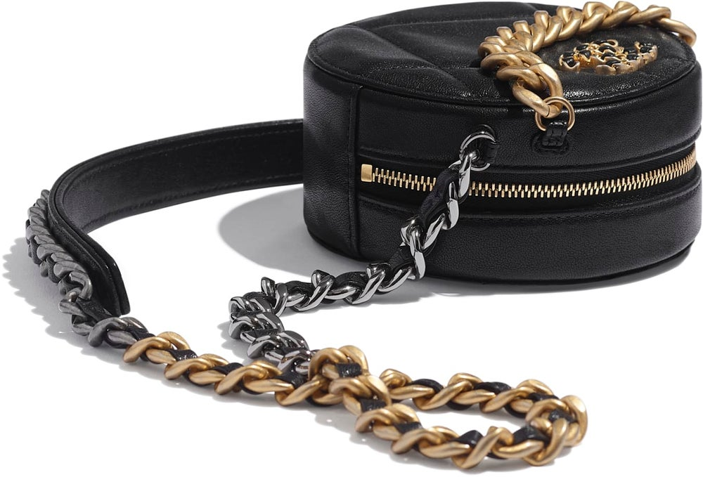 Image of Chanel Clutch 19 Round with Chain Black Lambskin Leather
