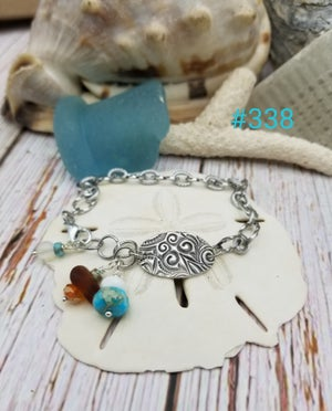 Image of Fine Silver- Handmade- Sea Glass- Turquoise- Crystals- Bracelet- #338