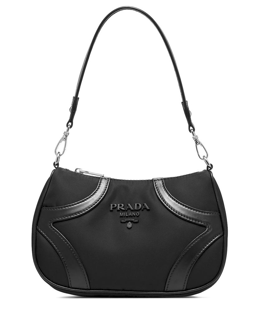 Image of Prada Tessuto Bowling Black Leather/Nylon Shoulder Bag