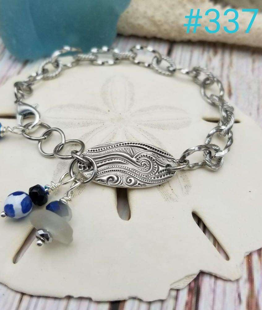 Image of Fine Silver- Handmade- Sea Glass- Agate- Bracelet- #337
