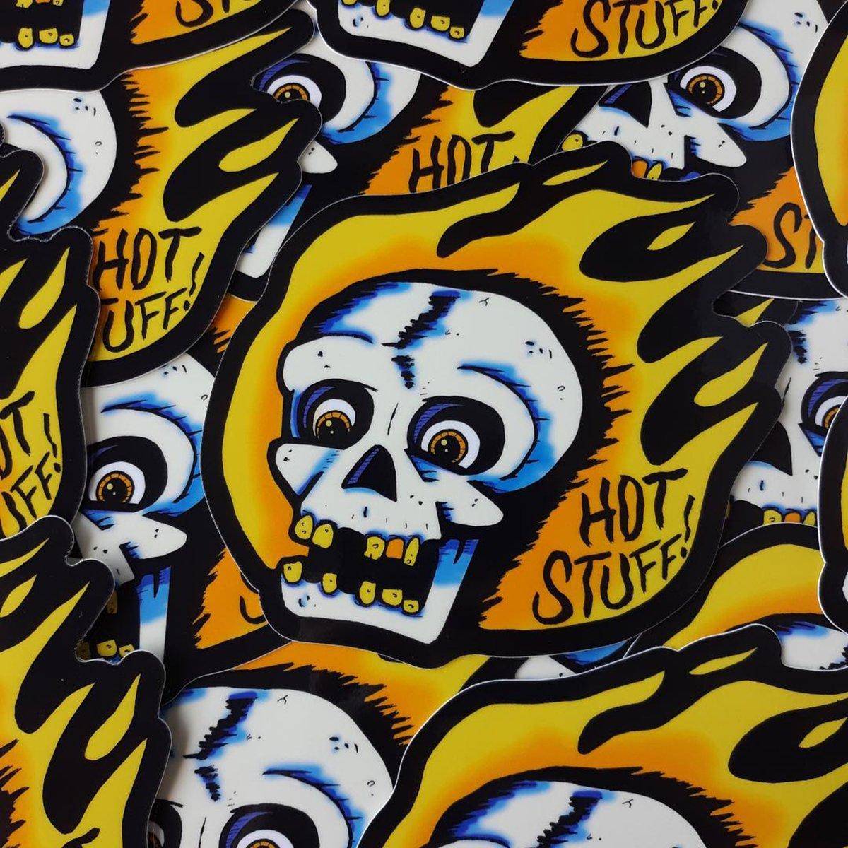 """HOT STUFF Flaming Skull 4"""" Vinyl Sticker"""