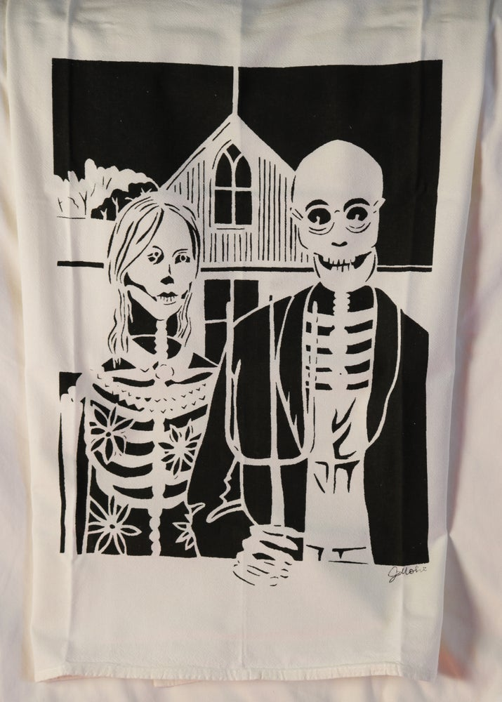 "Image of ""Day of the Dead American Gothic"" Dishtowel"