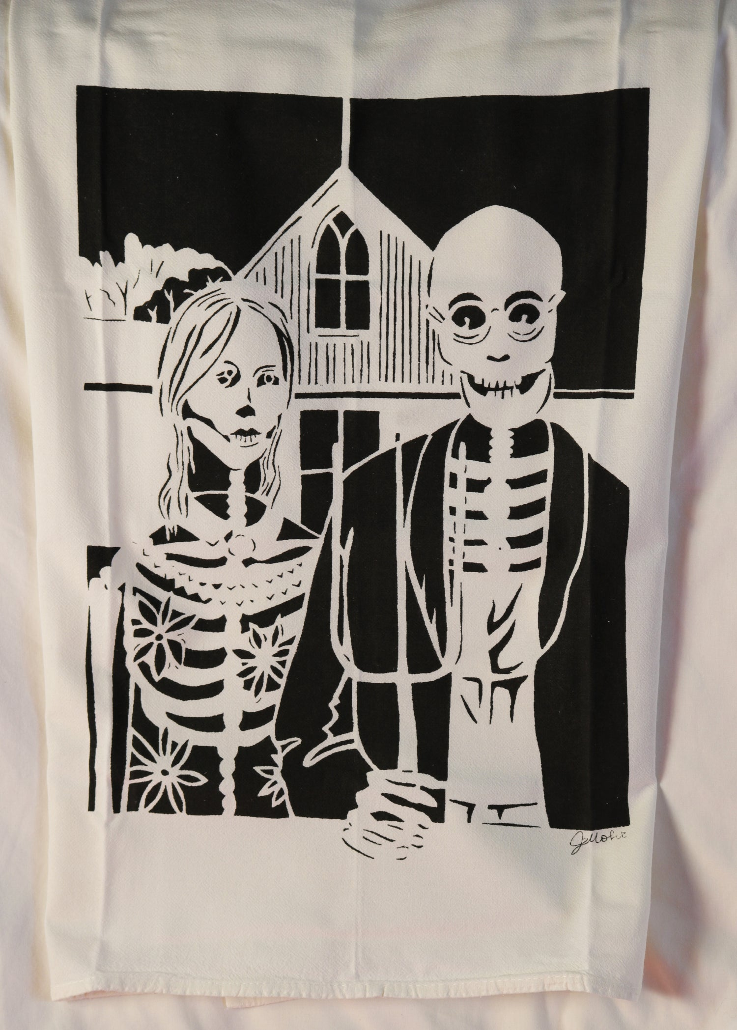 """Image of """"Day of the Dead American Gothic"""" Dishtowel"""