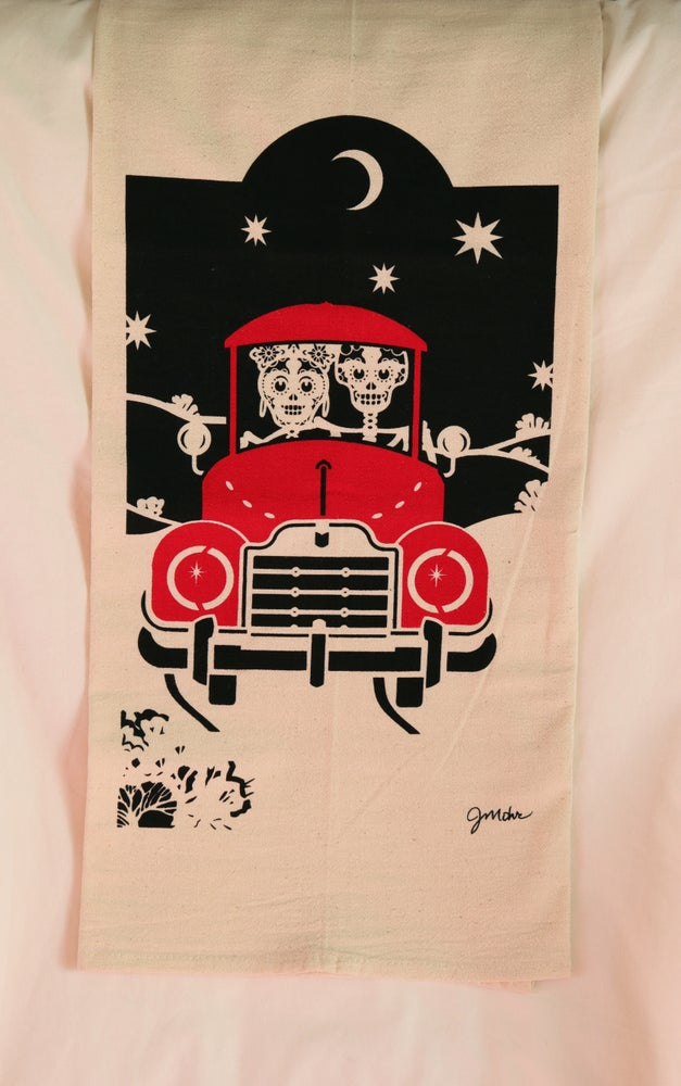"Image of ""Moonlight Ride Red"" Dishtowel"