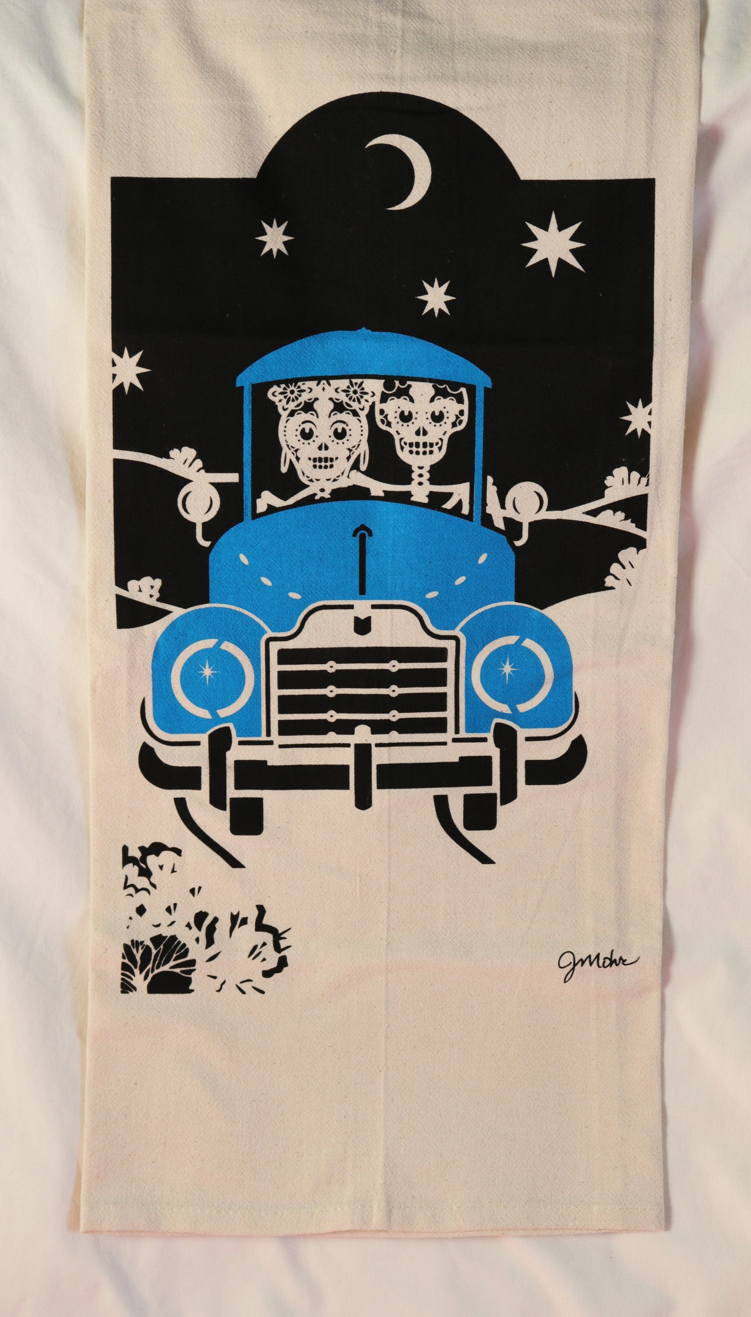 "Image of ""Moonlight Ride Blue"" Dishtowel"