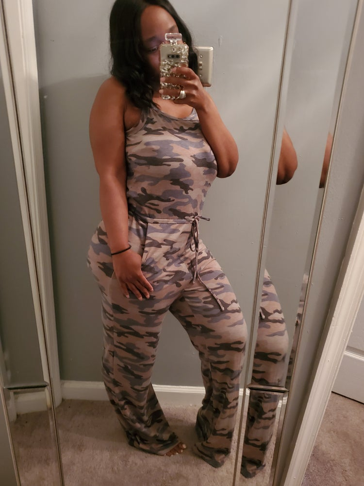 Image of Camo sleeveless pants romper