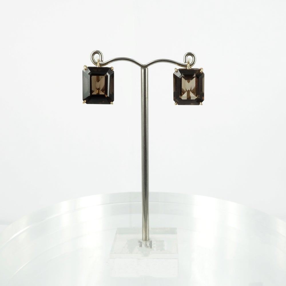 Image of PJ4990 - 18ct yellow gold earring with emerald cut smokey quartz