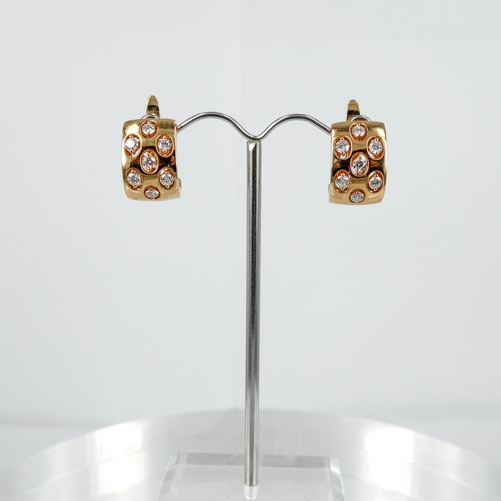 Image of PJ5440 - 14ct rose gold diamond set huggie style hoop earrings