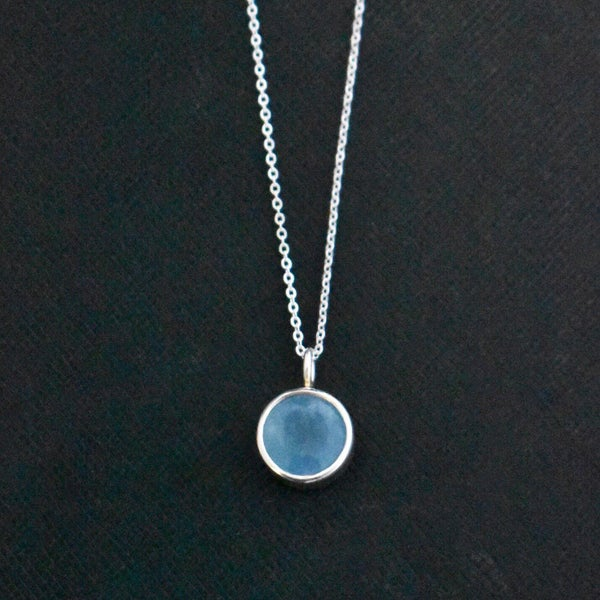 Image of Vietnam Blue Aquamarine round cut silver necklace