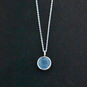 Image of Vietnam Blue Aquamarine round cut silver necklace
