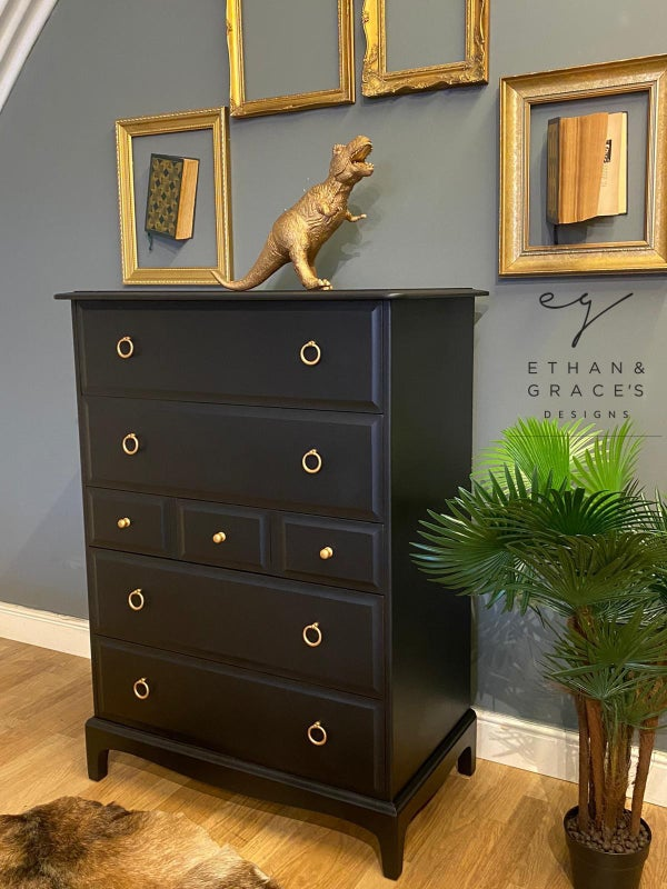 Image of Stag tallboy chest of drawers in black.