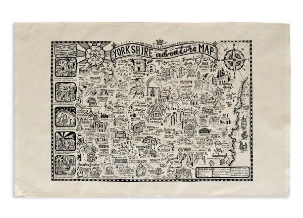 Image of YORKSHIRE ADVENTURE MAP TEA TOWEL/PICNIC WRAP