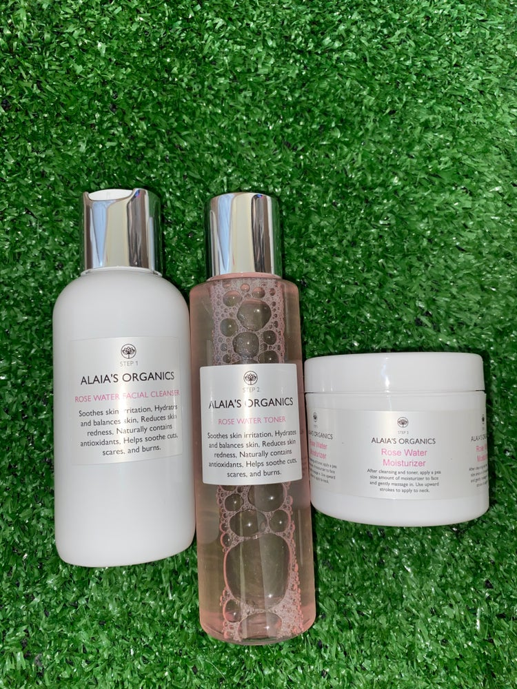 Image of Alaia's Organics Rose Water Cleanser, Toner & Face Cream