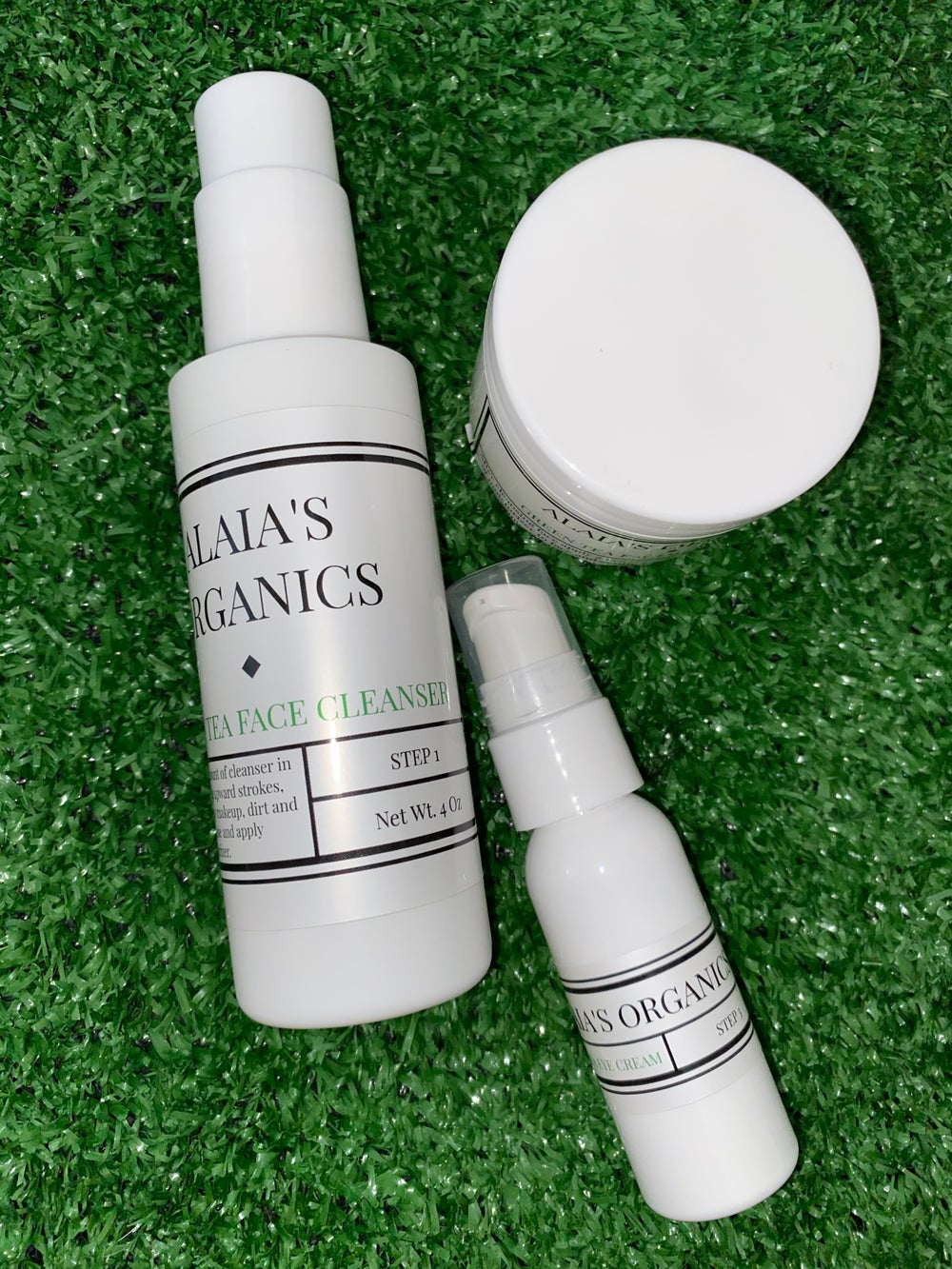 Image of Alaia's Organics Green Tea Cleaner, Facial Moisturizer & Eye Serum