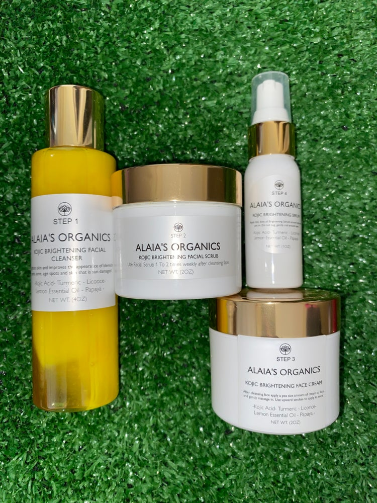 Image of Alaia's Organics Brightening Skin Care Kit: Cleanser, Serum, Scrub & Face Cream