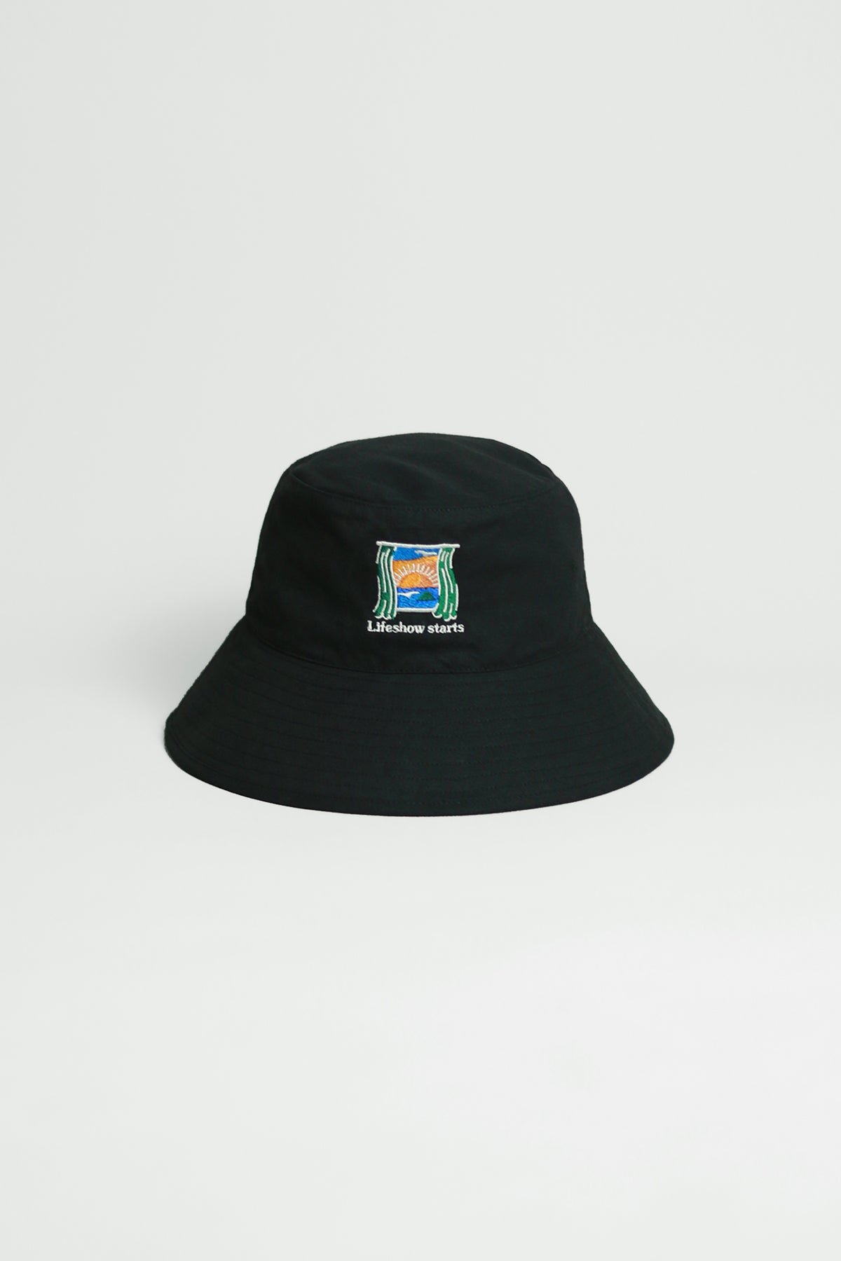"Graphic Embroidery Tee - ""Lifeshow Starts"" Bucket Hat"
