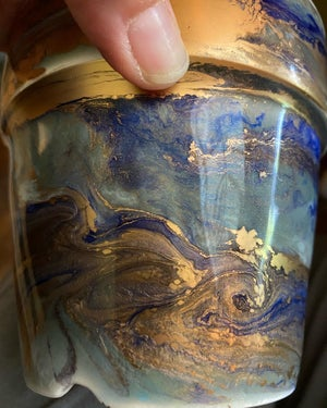 Image of Weather Pots - Royal Blue, Seafoam and Gold