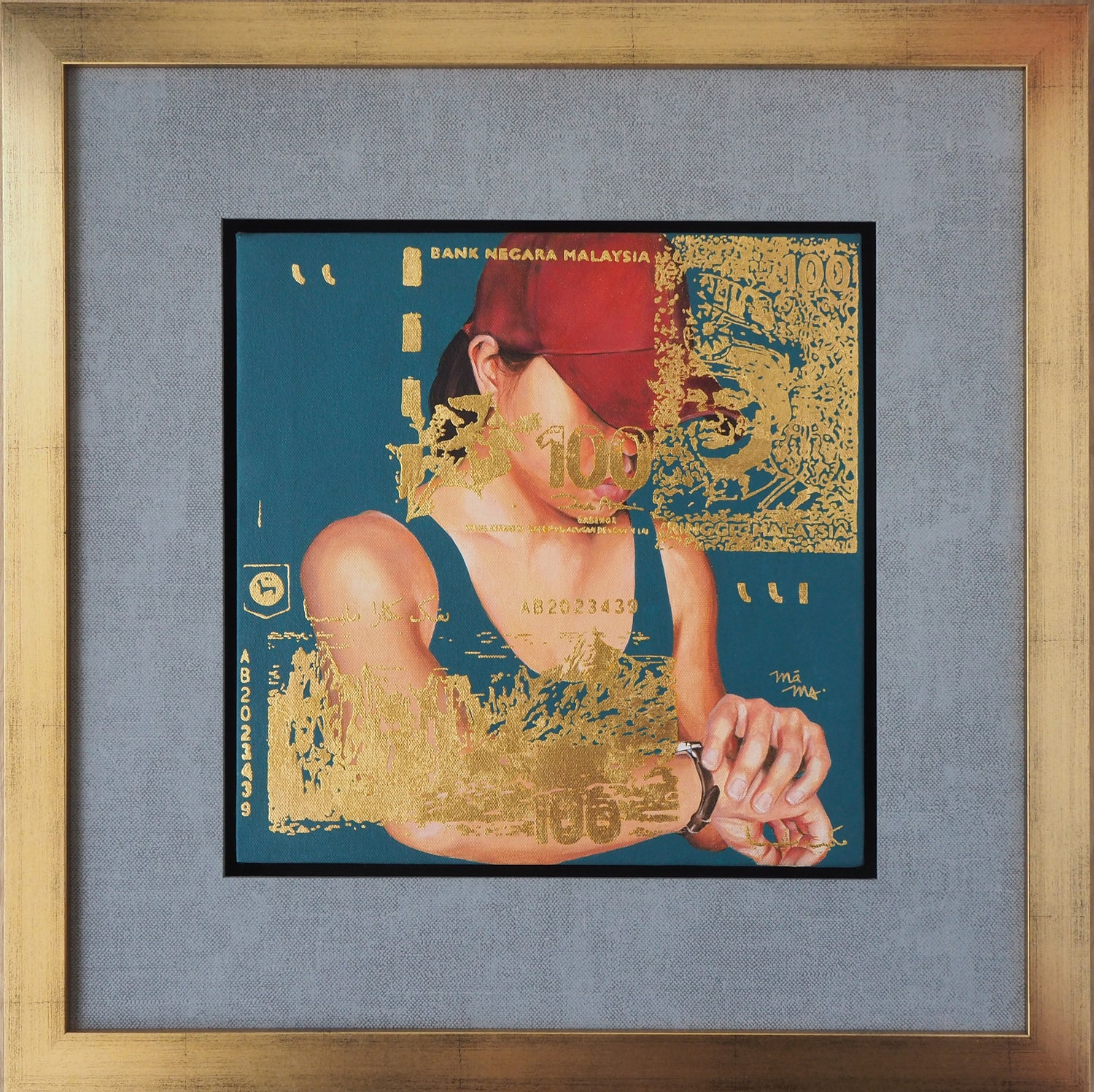 MONEY & TIME FULL GOLD-LEAF EMBELLISHMENT WITH FRAME