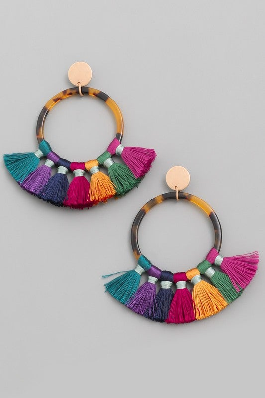 Image of Tassel Hoop Drop Earrings