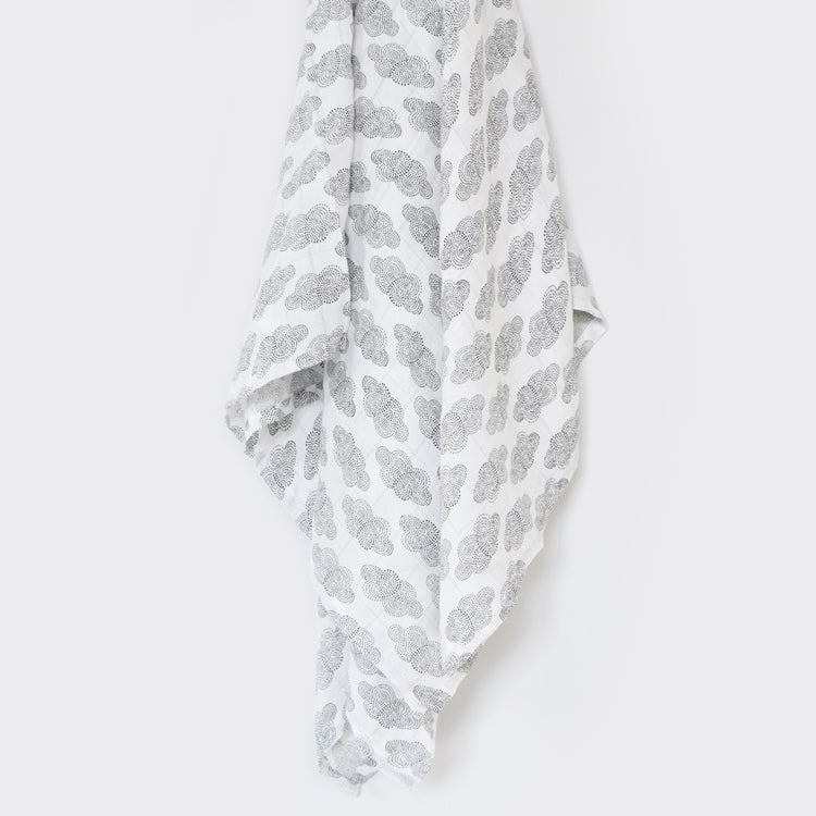 Image of Wee Gallery Organic Muslin Swaddle - Clouds