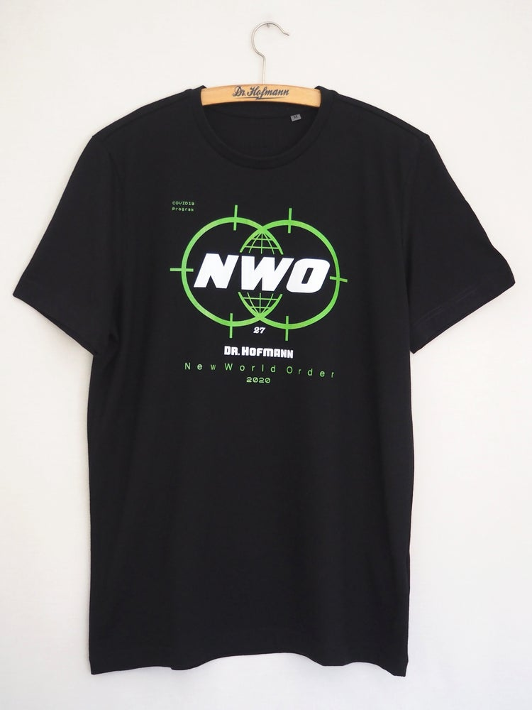 "Image of ""New World Order Covid19"" tee  - Organic cotton - Black"
