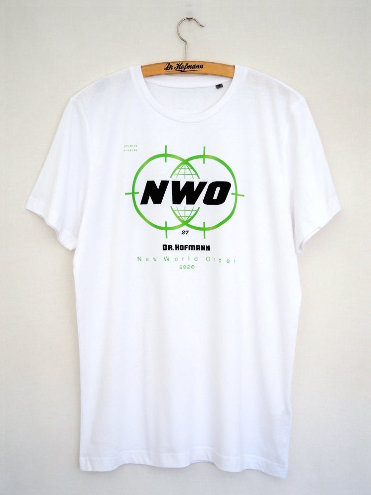 "Image of ""New World Order Covid19"" tee  - Organic cotton - White"